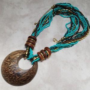 Vintage Necklace Seed bead, wood, Boho, Western